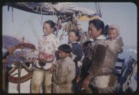 Inuit woman and children on 'Bowdoin,' northwest Greenland