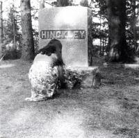 Good Will Girl Laying Flowers on G.W. Hinckley's Grave, Fairfield, ca. 1965