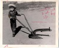Robert McKeen with plow, Norway, 1958