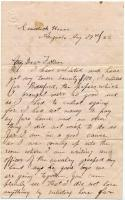 John P. Sheahan letter on enlistment, Augusta, 1862