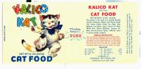Kalico Kat catfood label, Lubec, ca. 1955