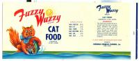 Fuzzy Wuzzy catfood label, Lubec, ca. 1955