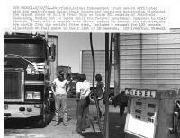 Truck blockade at Bill's Truck Stop, Fairfield, 1979