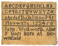 Jane Wentworth sampler, Brownfield, 1828