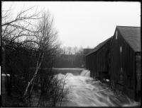 Spring freshet over Mill Stream dam, Strong, ca. 1910