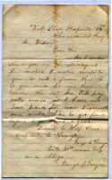 Letter seeking back pay, Virginia, 1861