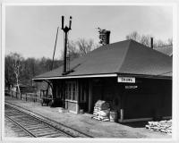 Railroad station at Onawa, ca. 1920