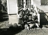 Home Ec students knitting, Farmington State Normal School, 1940