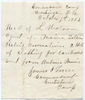 Receipt for Contraband Camp donation, Washington, 1863