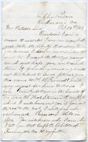 POW letter requesting food, Richmond, Va., 1863
