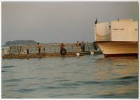 Unloading smolt, Swan's Island, ca. 1990