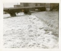 Kennebec River dam overflowing, Waterville, 1936