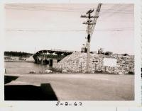 Roadwork approaching international bridge, Lubec, 1962