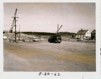 Finishing work underway on bridge, Lubec, 1962