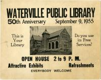 Public Library 50th Anniversary poster, Waterville, 1955