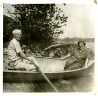 Canoe ride on Porter Lake, Strong, ca. 1940