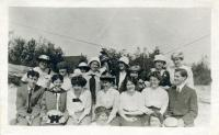 Geography class, North Jay granite quarry, 1914
