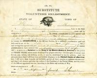 Civil War Substitute Volunteer Enlistment, Auburn, 1864