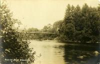 Upstream view of wire suspension bridge, Strong, ca. 1920