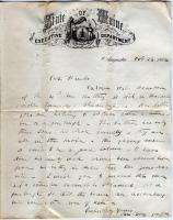 Gov. Cony letter about sick soldier, Augusta, 1864