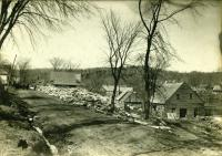 Winter wood supply at Billy Smith's mill, Strong, ca. 1910