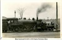 S.R.R.L. Engine#9 dwarfed by Maine Central# 284 at Farmington station, ca. 1920
