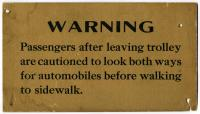 """Warning,"" interior trolley car notice, ca. 1920"