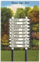 Maine sign post, Lynchville, ca. 1940