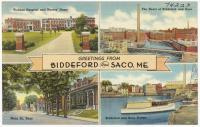Tourist postcard for Biddeford and Saco, ca. 1935