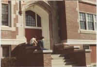KVVTI Students seated by main doors, Waterville, 1983