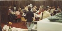 Gilman School's Bernard King in cafe, Waterville, 1983