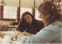 Gilman School students in library, Waterville,1983