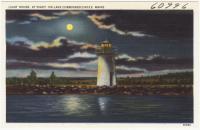 Lake Cobbosseecontee Light House at night, Winthrop, ca. 1938