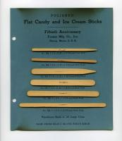 Candy and ice cream stick samples, Forster Mfg. Co., Strong, 1947