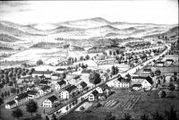 Birds'-eye view of Alfred Shaker community, 1880