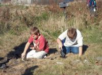 Students excavating at the quarry