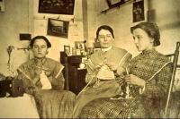 Young Sisters Knitting, Sabbathday Lake Shaker Village, ca. 1915