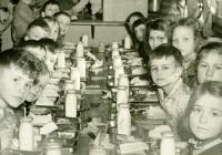 Students in Strong Public School lunchroom, Strong, ca. 1953