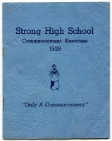 Commencement Program cover, Strong High School, 1939