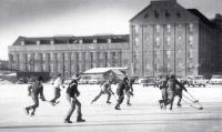 Hockey game, Hill Mill, Lewiston, ca. 1940