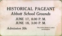 Ticket for Historical Pageant, Farmington State Normal School, 1924
