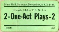 Theater ticket, Farmington State Normal School, 1928