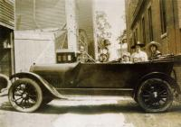 Levesque family in automobile, Lewiston, 1917