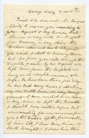 Letter about Pvt. Cole serious illness, near Washington, D.C., 1862