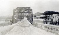 Southerly view through the iron bridge, Strong, ca. 1923