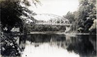 Scenic view of iron bridge, Strong, ca. 1950