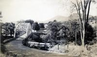 "A look down ""bridge hill"" toward the bridge, Strong, ca. 1950"