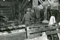 A large log runs through the saw, Starbird Lumber Co., Strong, ca. 1955