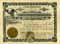 Share Certificate, Franklin Farmers Co-Operative Tel. Co., Strong, 1912
