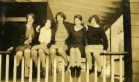 Students on porch, Farmington State Normal School, ca. 1928